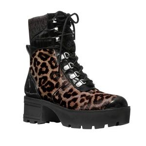 Leopard and patent leather combat boots